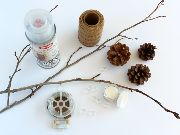 Decorative Twig and Pinecone Sprays for your Christmas Tree - Supplies