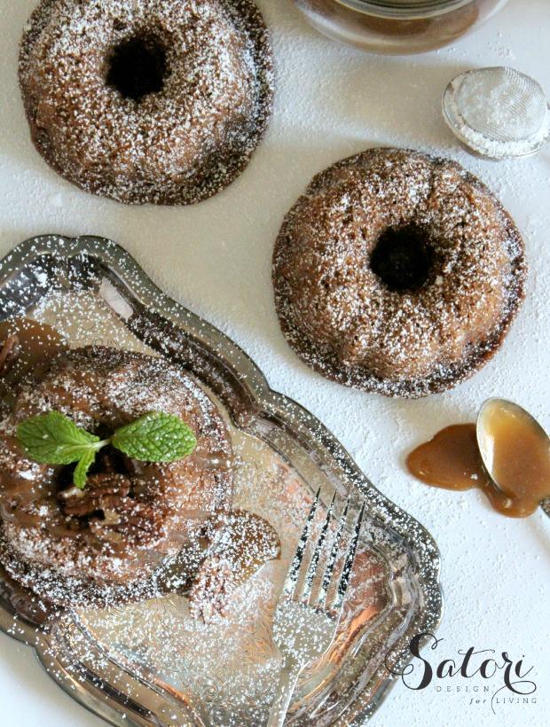 Mini Gingerbread Bundt Cakes with Salted Caramel Pecan Sauce - Satori Design for Living
