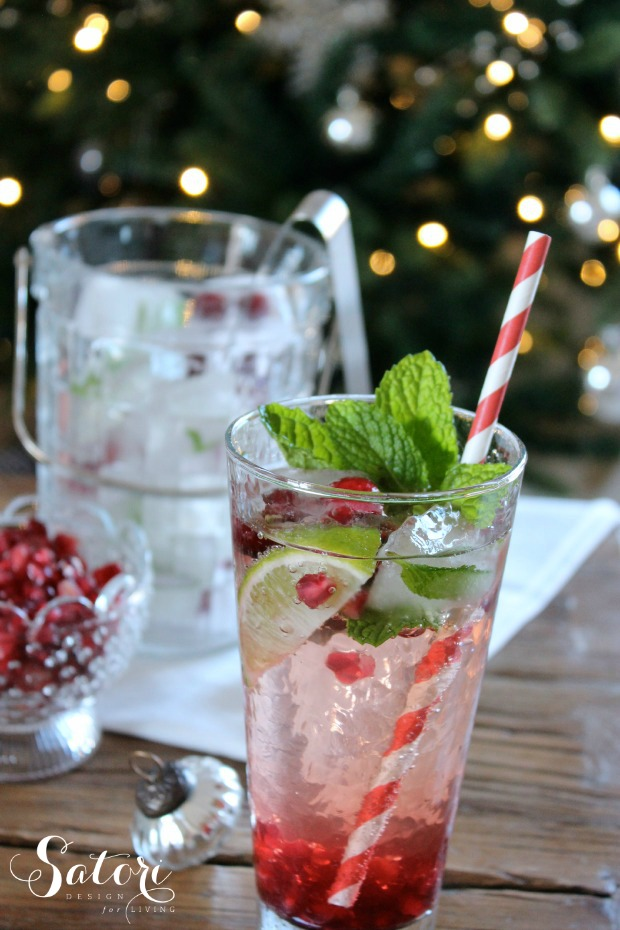 Pomegranate Mojito Cocktail for Holiday Entertaining