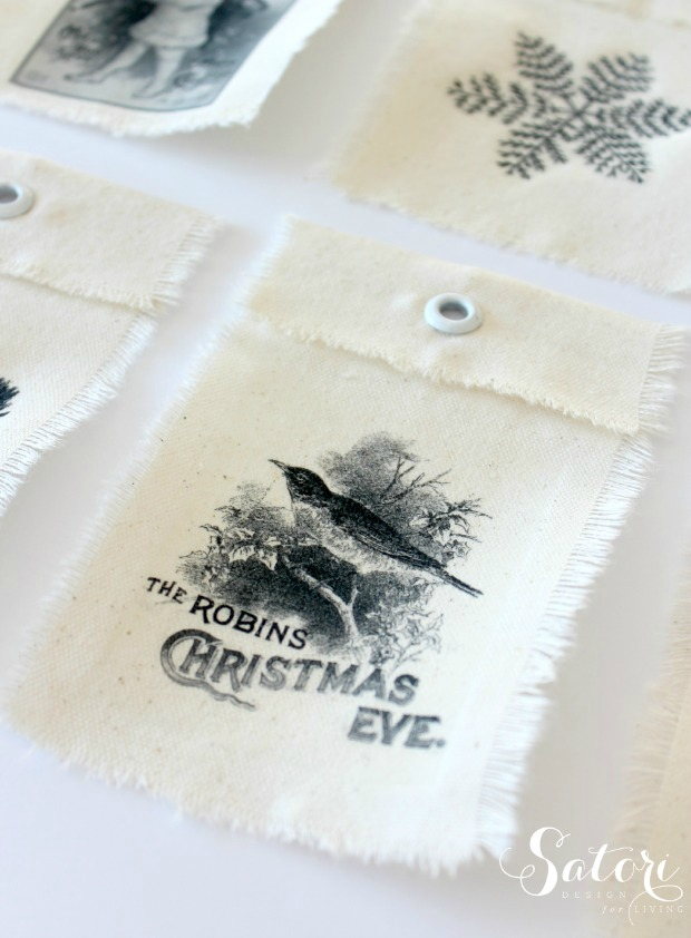 DIY Vintage Christmas Gift Tags - Canvas Tags with Iron-on Transfers