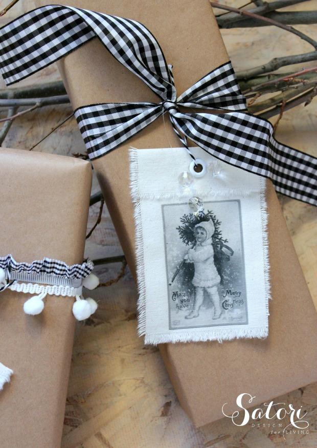 DIY Vintage Christmas Gift Tags with Brown Kraft Paper Wrap and Ribbon - Full Tutorial at SatoriDesignforLiving.com