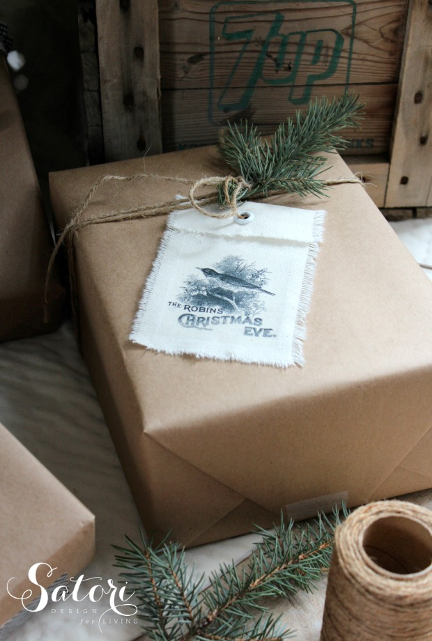 DIY Vintage Christmas Gift Tags - Shabby Chic Holiday Gift Wrap Ideas with Canvas Tags and Kraft Paper - Satori Design for Living