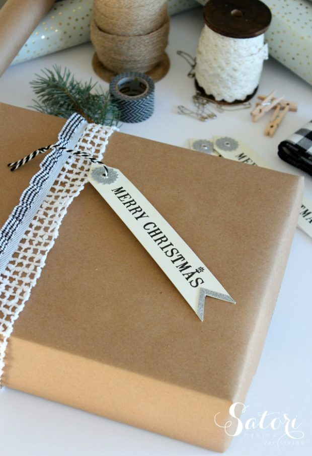 Vintage Glam Christmas Gift Wrapping Ideas - Merry Christmas Gift Tag Attached with Lace Ribbon Over Kraft Paper Wrap by Satori Design for Living