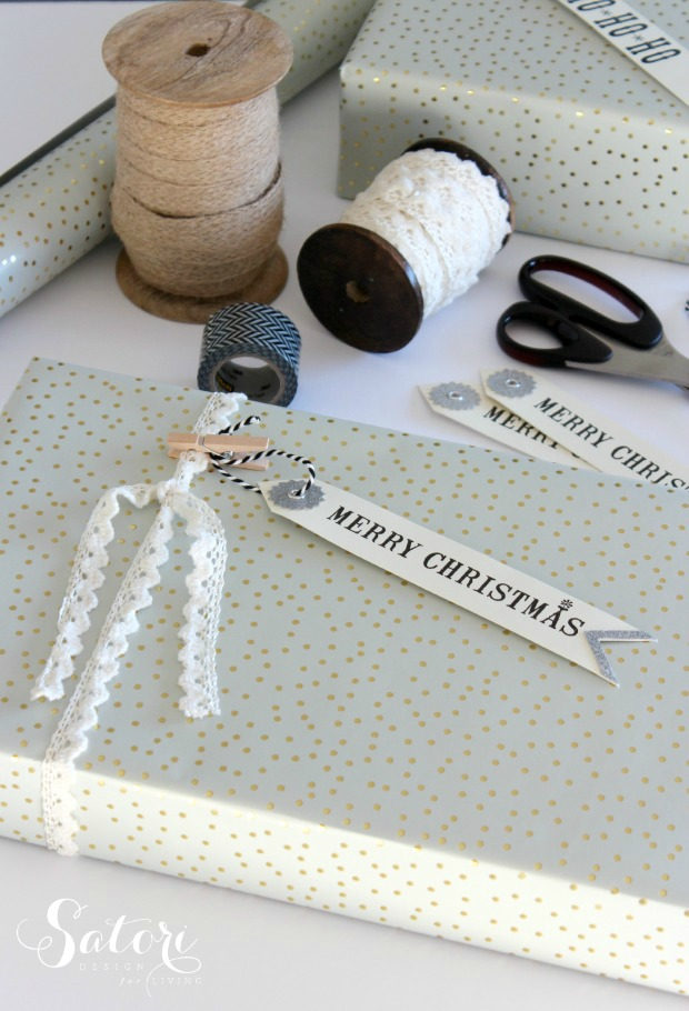 Christmas Gift Wrapping Ideas Using Vintage Lace, Mini Clothespins and Gift Tags
