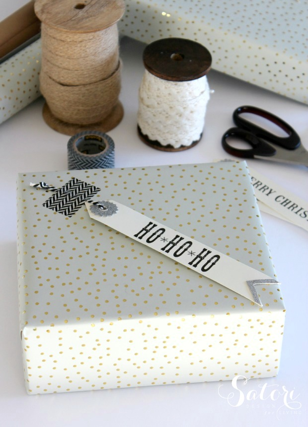Vintage Glam Christmas Gift Wrap - Holiday Gift Wrapping Ideas Using gold Polka Dot Paper, Vintage Inspired Gift Tags and Washi Tape