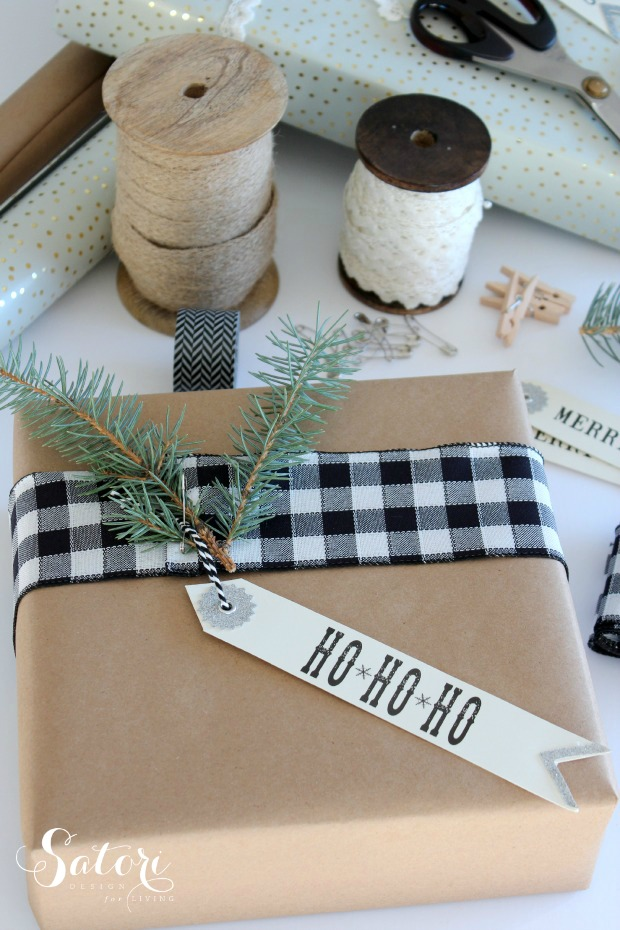 Holiday Gift Wrapping Ideas Using Black and White Buffalo Check Ribbon with Fresh Greens and Kraft Paper by Satori Design for Living