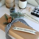 Vintage Glam Christmas Gift Wrap - Simple wrapping ideas with brown kraft paper, gingham ribbon, fresh greens - Satori Design for Living