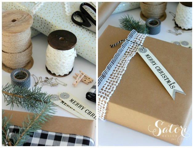Pretty Christmas Gift Wrapping Ideas Using Spools of Pretty Lace, Jute Ribbon and Kraft Paper