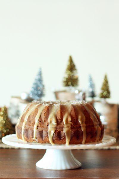 Holiday Recipe Ideas - Eggnog cake with salted caramel glaze