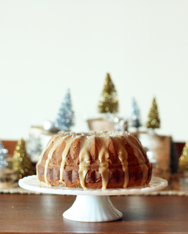 Holiday Recipe Ideas - eggnog bundt cake with salted caramel glaze
