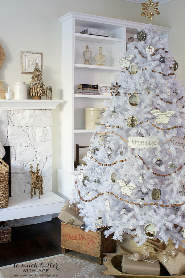 Christmas Inspiration - French Inspired White Christmas Tree from So Much Better With Age