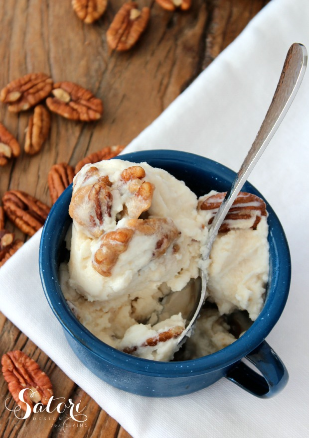 Homemade Caramel Pecan Ice Cream