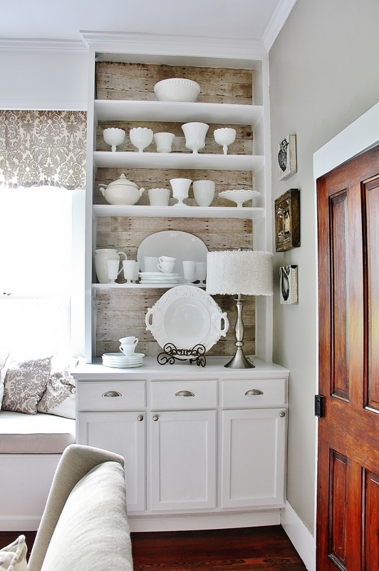 Milk Glass Collection Displayed in White Built-ins by Thistlewood Farms