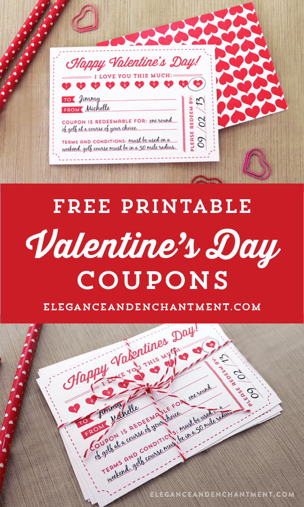 Elegance and Enchantment - Valentines Day Coupon Printable Gift Idea