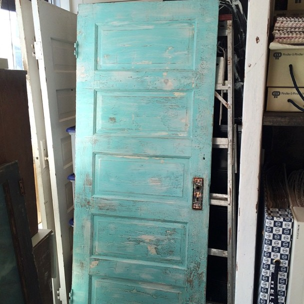 Kitchen Renovation - Salvaged Blue-green Door from SAjO Weathered Home - Satori Design for Living
