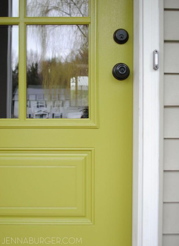 Valspar Crushed Oregano Front Door Paint Color - Apple Green Front Door via Jenna Burger