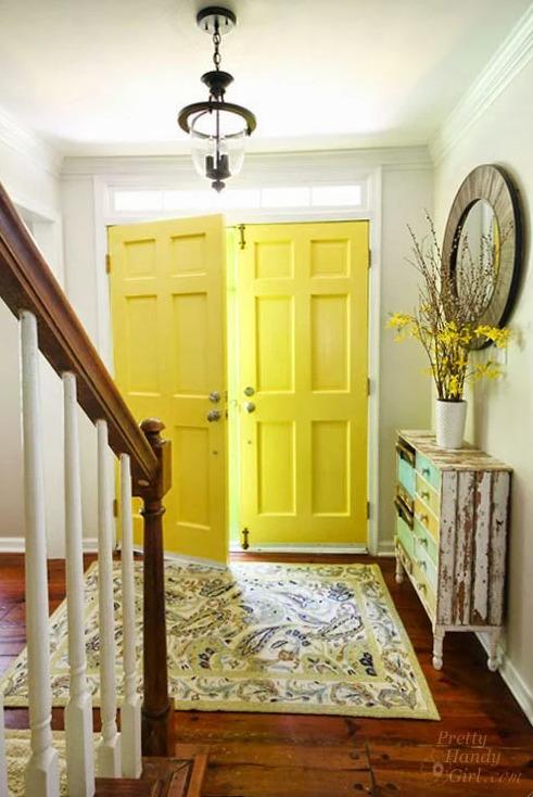 Interior Doors Painted in Benjamin Moore Yellow Highlighter - Pretty Handy Girl