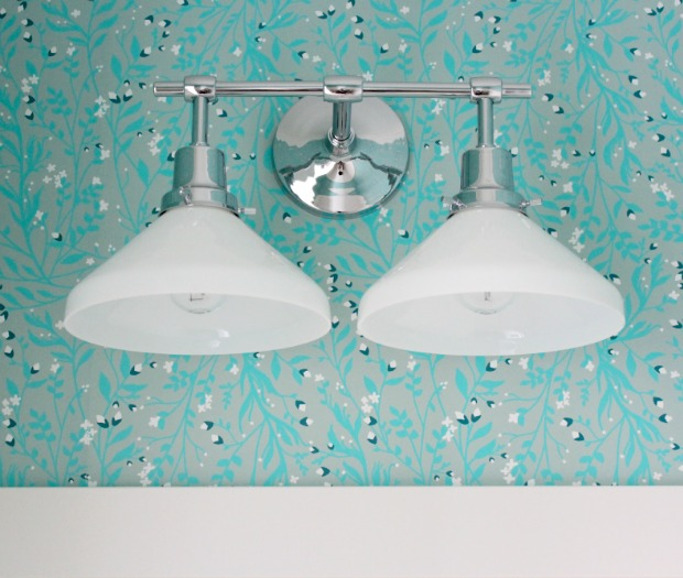 Powder Room Light Fixture Update - Eastmoreland Polished Chrome Double Sconce from Rejuvenation | Satori Design for Living