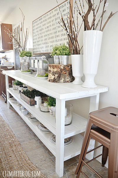 Spring Decorating Ideas: Dining Room Buffet by Liz Marie Blog