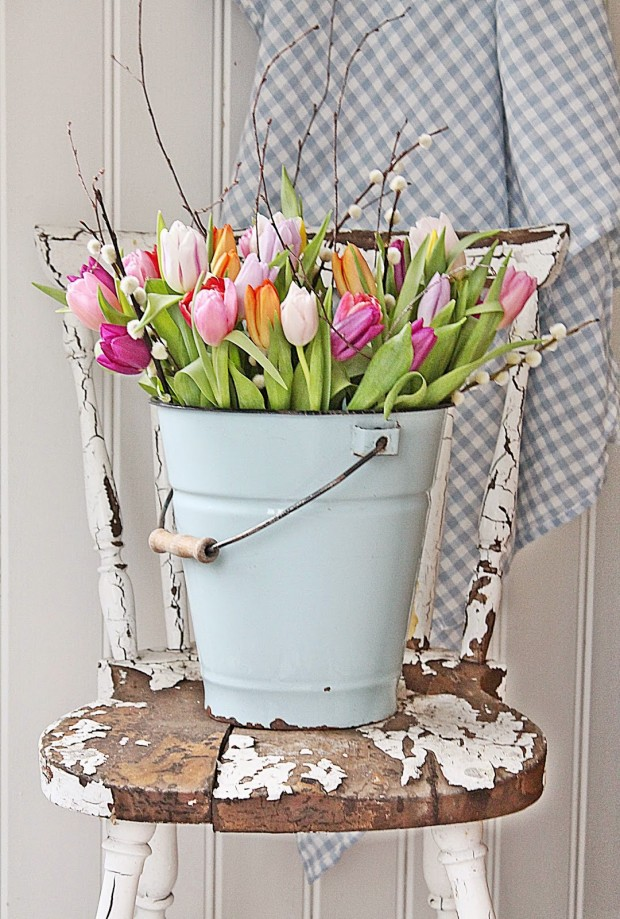 Spring Decorating Ideas: Tulips in Vintage Bucket by Vibeke Design