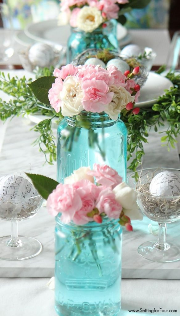 Spring Decorating Ideas: Tinted Blue Mason Jar Arrangements by Setting for Four