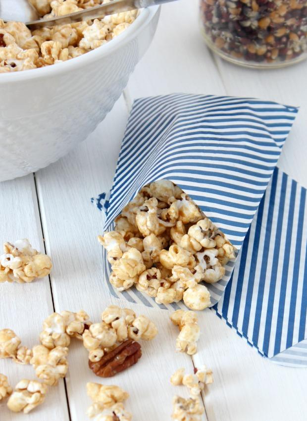 Honey & Cinnamon Caramel Popcorn - Party Snack - No corn syrup recipe - Satori Design for Living
