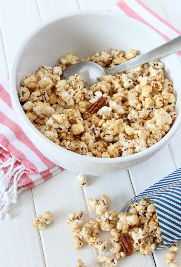Honey & Cinnamon Caramel Popcorn - Made without corn syrup - Party Food Idea - Satori Design for Living