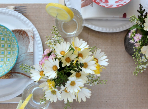 Country Garden Party Tablescape with Log Floral Arrangements - Country Themed Centerpieces