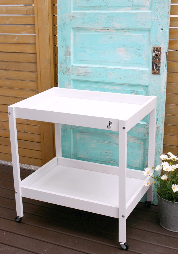 DIY Bar Cart Outdoor Beverage Center - Made from an upcycled Ikea baby change table - Satori Design for Living