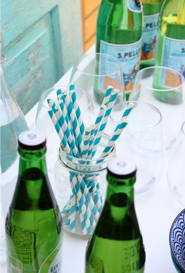 Summer Beverage Station with Paper Straws and Drinks