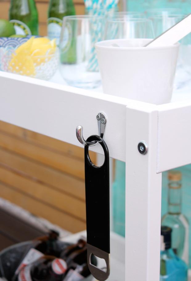 DIY Outdoor Bart Cart with Bottle Opener Hook - Satori Design for Living