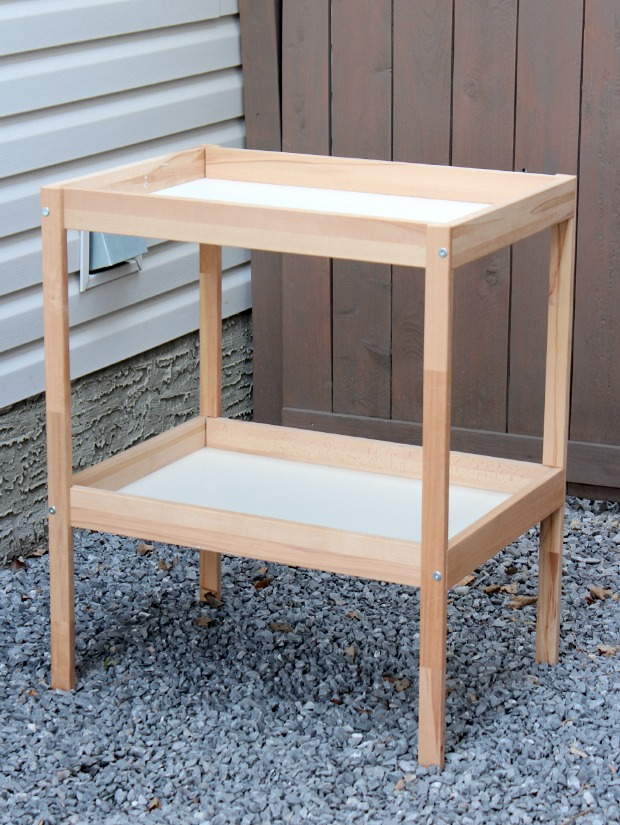 IKEA Sniglar Changing Table Hack to Outdoor Bar Cart - Get the full details at SatoriDesignforLiving.com
