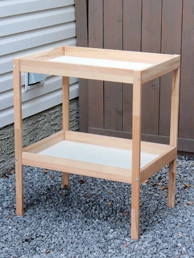 Ikea SNIGLAR Baby Change Table - thrift shop find for outdoor bar cart project - Satori Design for Living