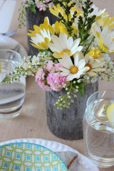 Country Garden Party Table Centerpieces - DIY Log Vases