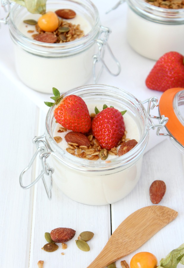 Greek Yogurt Panna Cotta with Crunchy Maple Topping and Fresh Berries