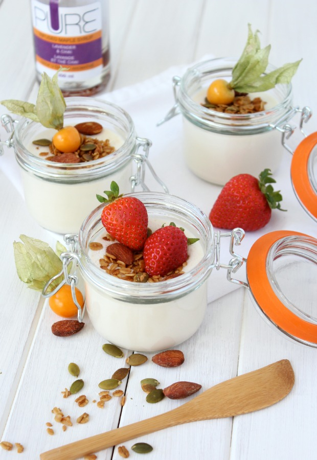 Lavender and Chai Greek Yogurt Panna Cotta with Crunchy Maple Topping