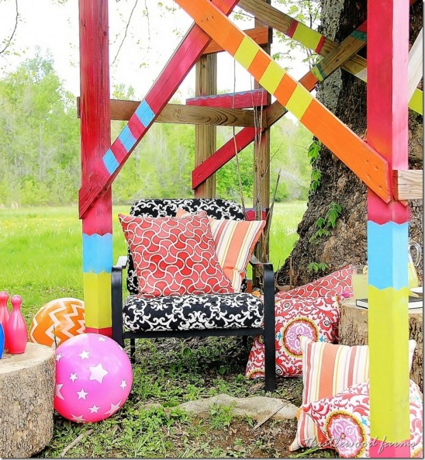 Decorating Outdoor Spaces - Bright and Cheery Tree Fort by Thistlewood Farms