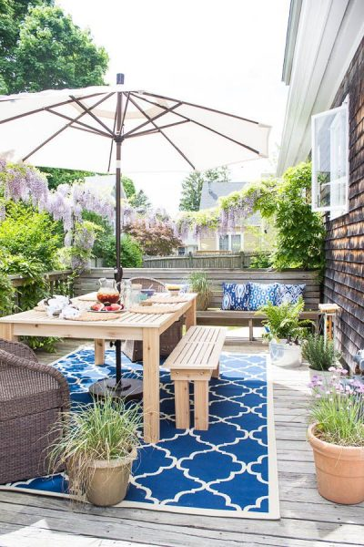 Ideas for Decorating Outdoor Spaces on a Budget - Coastal Deck Refresh - Finding Silver Pennies