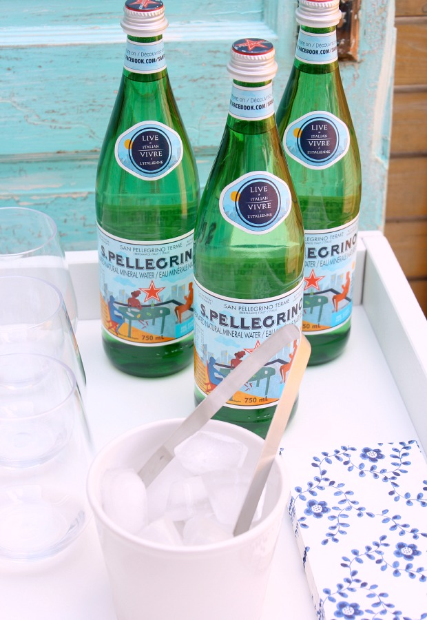 Outdoor Beverage Center with Pellegrino Bottles, Ice Bucket and Glasses