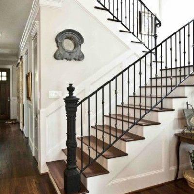 Hardwood and White Inspiration Staircase - Cedar Hill Farmhouse