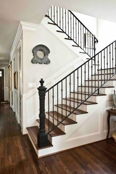 Hardwood and White Inspiration Staircase - Cedar Hill Farmhouse