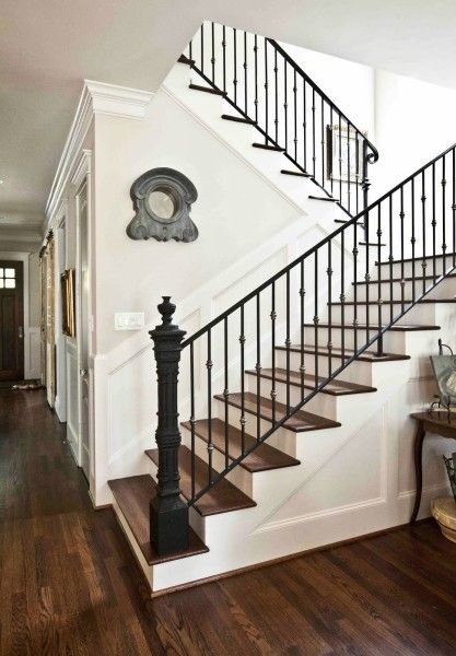 Inspiration Staircase with White Risers and Hardwood Treads - Cedar Hill Farmhouse
