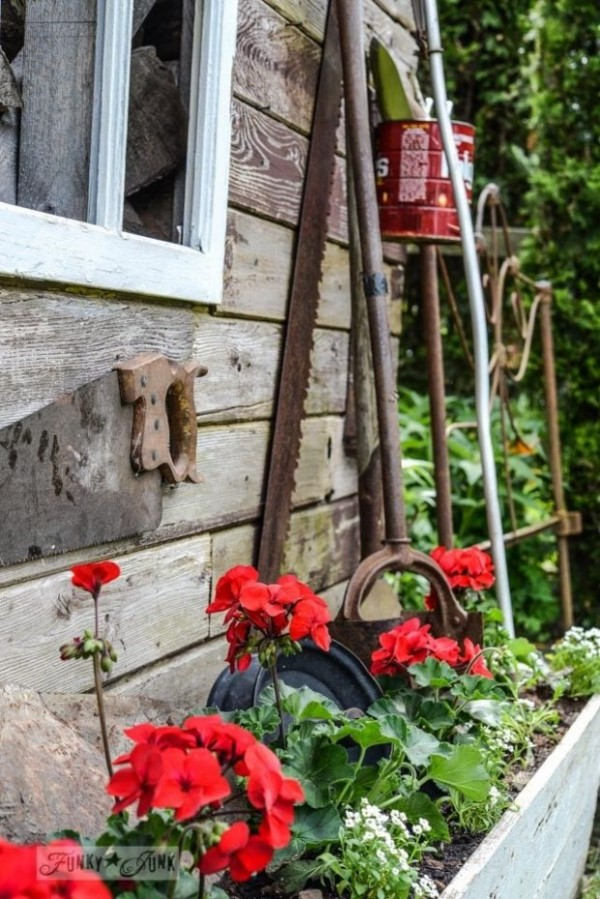 Red Geraniums in Rustic Wooden Planter - Funky Junk Interiors