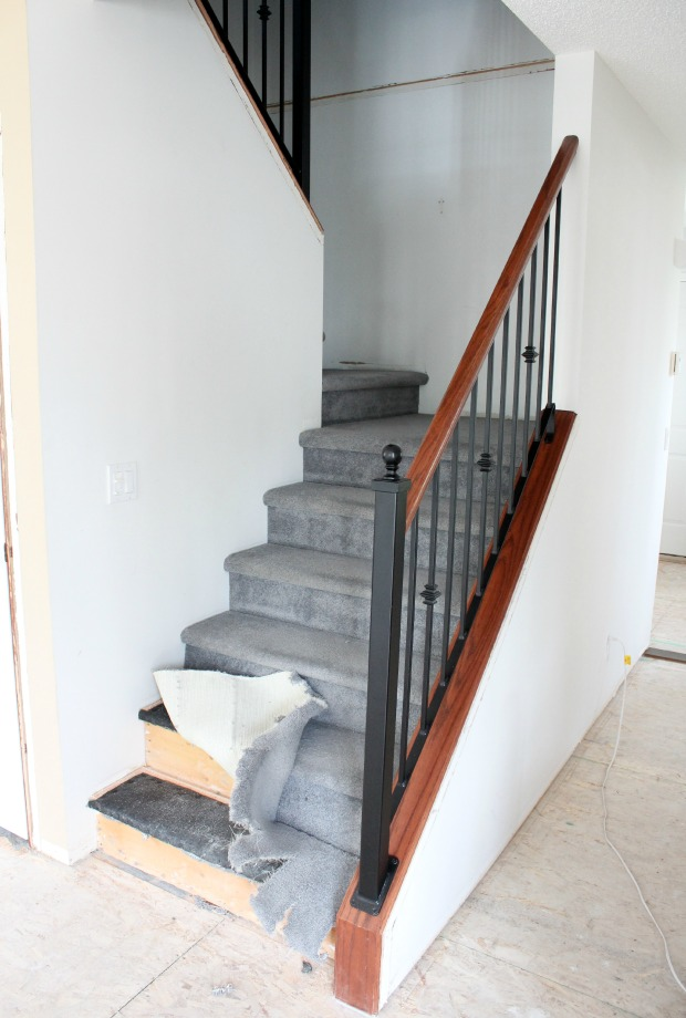 Staircase Makeover BEFORE - Ripping Out Carpet to Replace with Hardwood
