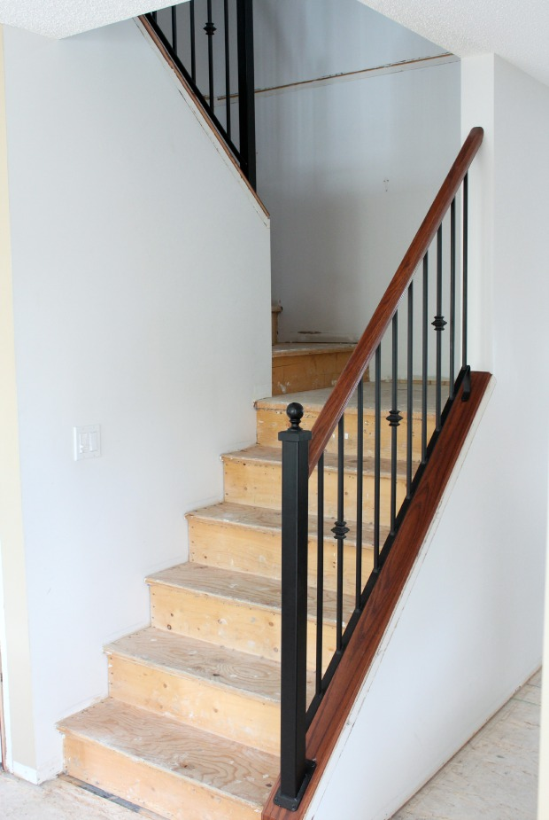 Carpet to Hardwood Staircase Makeover Progress -Stripping Wood Stairs