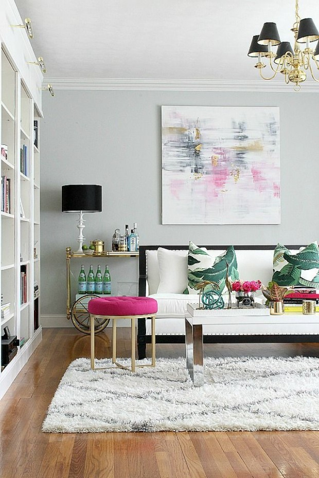 Summer Decorating Ideas - Living Room with Pops of Pink and Green by Bliss at Home