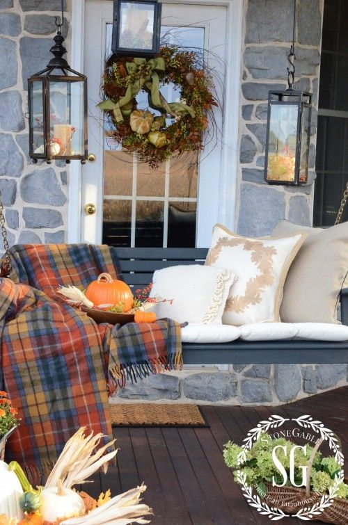 Fall Front Porch Swing - Stone Gable