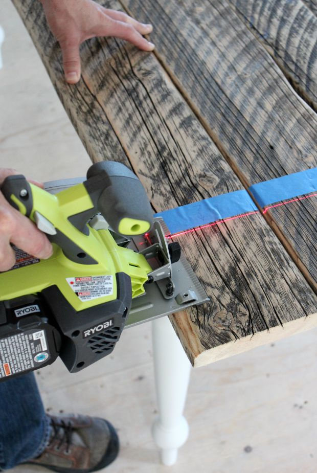 Using Ryobi Drill to Cut Ends of Farmhouse Table