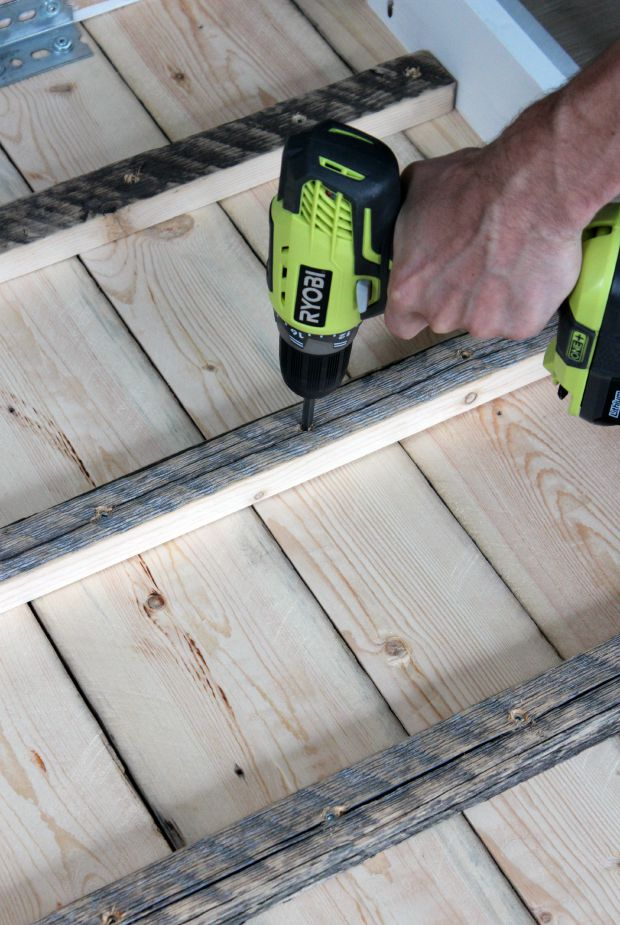 Ryobi Drill Attaching Salvaged Wood Top to Dining Table