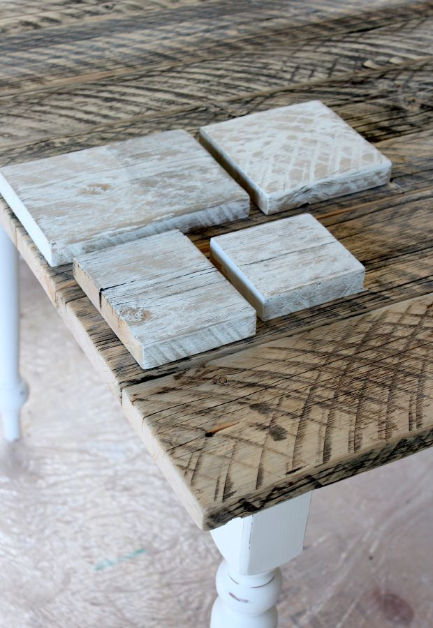 Distressed White Salvaged Wood Farmhouse Table - Finishing Steps for White Washed Reclaimed Wood - SatoriDesignforLiving.com